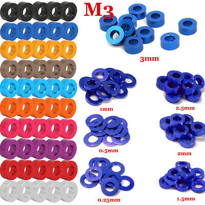 10~100PCS M3 0.25/0.5/1/1.5/2/2.5/3mm 3Racing CNC Aluminium Flat Hardware Washer