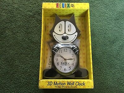 """Felix The Cat 3D Motion Moving Eyes & Tail 17.5"""" Wall Clock New"""