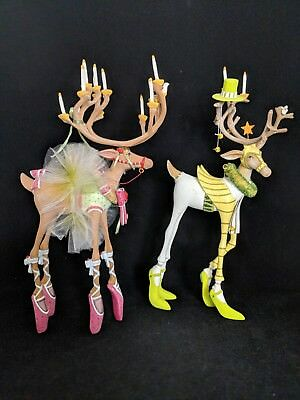 "SET OF 2 Krinkles Reindeer Patience Brewster Dept 56 ""DANCER"" ""PRANCER"""
