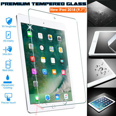100% Genuine TEMPERED GLASS Screen Protector Cover for New Apple iPad 9.7 2018