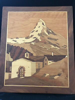 """Vintage Inlaid Marquetry Wood MATTERHORN Picture 14"""" x 12"""" - OBO"""