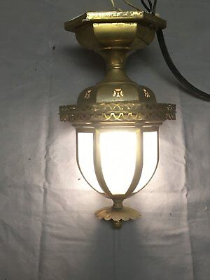 Vtg Brass Porch Hall Ceiling Light Fixture Old Stars Country Craftsman 75-18E