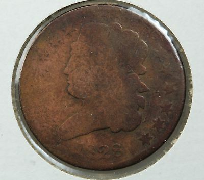 1828 Half Cent 13 Stars Old Light Cleaning