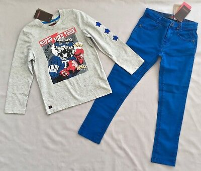 NWT CATIMINI BOYS TIGER TOP & ROYAL BLUE PANTS 2PC SET/ OUTFIT 7 years SZ 7