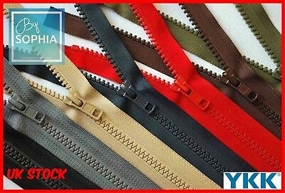 No.8 Genuine Ykk® Open Ended Chunky Plastic Tooth Zips Heavy Duty