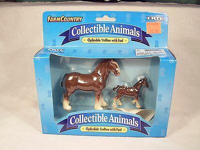 """1995 Ertl Farm Country """"Clydesdale Stallion with Foal"""" Collectible Animals - MIB"""
