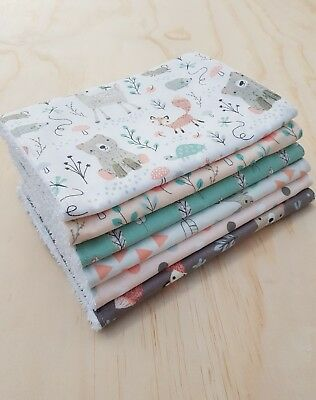 Baby Burp Cloth, Toweling Back, Forest Friends, set of 6