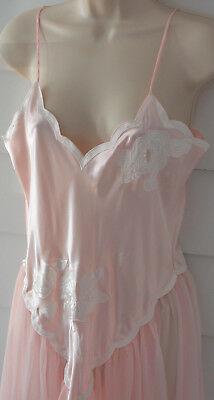 Vintage VICTORIAS SECRET Nightgown Medum M Gold Label Embroidered Silky Sheer