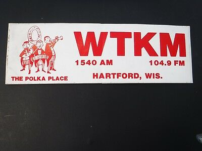 Vintage~Wtkm Hartford, Wis~Polka Place~Wisconsin~ Bumper Sticker~Radio~7-Up Soda
