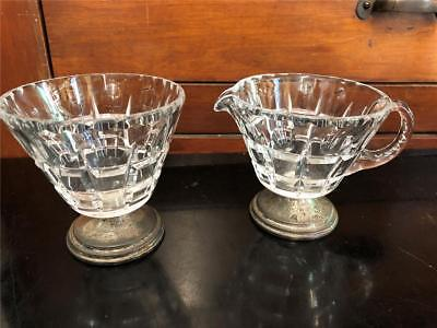 Vintage Hawkes Antique Cut Crystal Creamer and Sugar with Sterling Silver feet