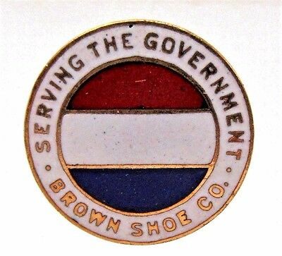 WWI SERVING THE GOVERNMENT BROWN SHOE CO. enamel collar lapel stud +
