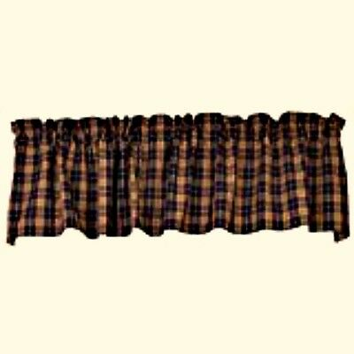 New Primitive Country Navy Blue Wine Green BUCKS COUNTY VALANCE Plaid Curtains