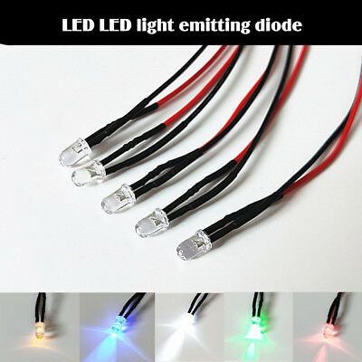 5X 5mm 3V LED Luminous Light Emitting Diode Bulbs With 20cm Line Wire Industrial