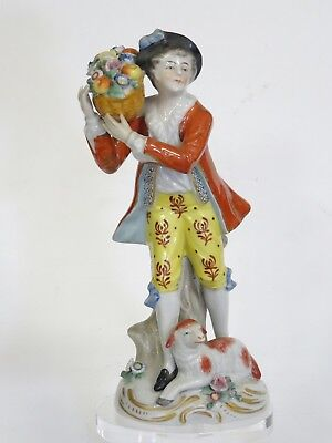 ANTIQUE c. 1918 SITZENDORF DRESDEN PORCELAIN FIGURINE BOY WITH FLOWER BASKET