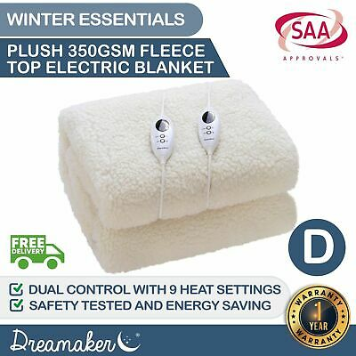 DOUBLE FLEECE ELECTRIC BLANKET 350 GSM Heated Fully Fitted Fleecy Underlay SIZE