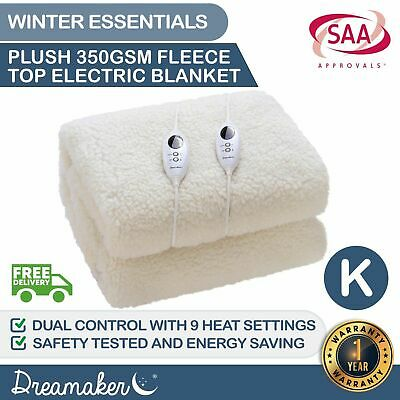KING 350 GSM FLEECE ELECTRIC BLANKET Heated Fully Fitted Fleecy Underlay SIZE