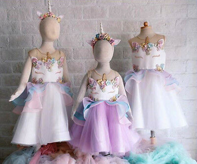 US Kids Baby Girls Unicorn Chiffon Bridesmaid Party Formal Dress Costume 0-6Yrs