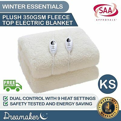 KING SINGLE 350 GSM FLEECE ELECTRIC BLANKET Heated Fully Fitted Fleecy Underlay