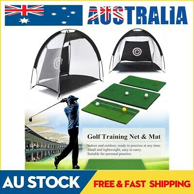 Golf Hitting Cage Practice Net Trainer With Training Mat +3 Balls +Tee Foldable