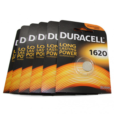 6x Duracell CR1620 3V Lithium Button Battery Coin Cell DL/CR/ECR 1620 Exp. 2026