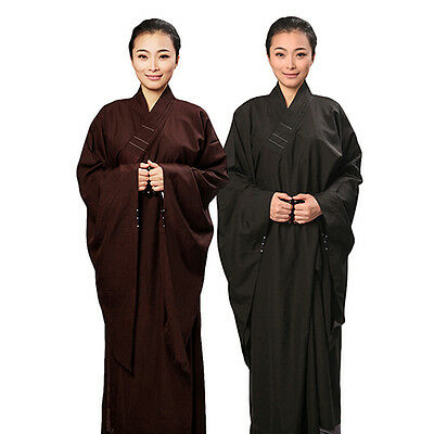 Unisex Meditation Cambric Haiqing Robe  Lay Monk Costume Robe Buddhism Uniforms