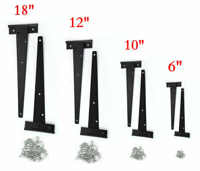 2 x Black Tee Hinges Heavy Duty Shed Gate Door Strap T Hinge Pair Small Large UK