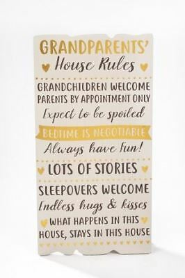 Grandparents House Rules Wooden Hanging Grandma Plaque Home Wall Sign Foil 40cm