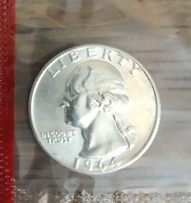 1964 D Washington Quarter BU 90% Silver Mint Cello US Coin
