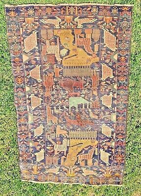Antique Afghan Tribal Hunting Pictorial Wool Silk Rug Carpet #2