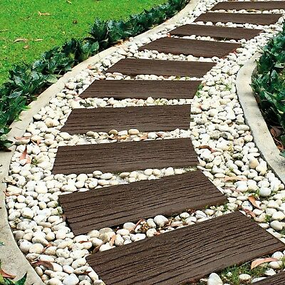 Garden Life Lawn Stepping Stones Wood Sleepers Wall Path Eco Recycled Rubber NEW