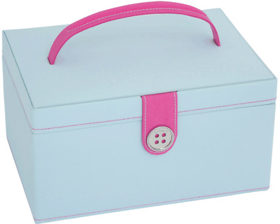 Button It 82226 Blue Pink Dot Lining Sewing Storage Box 24cm x 17cm x 12½cm