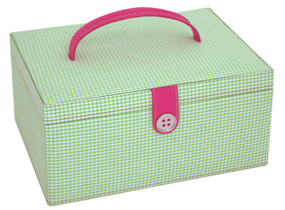 Button It 82228 Green Gingham Pink Lining Sewing Storage Box 24cm x 17cm x 12½cm