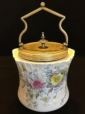 Carlton Ware W&R Stoke on Trent Biscuit Cracker Jar Antique Silver Lined Lid