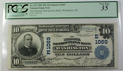 1902 PB National Metropolitan Bank of Wash DC $10 Note Charter 1069 PCGS VF35 RS