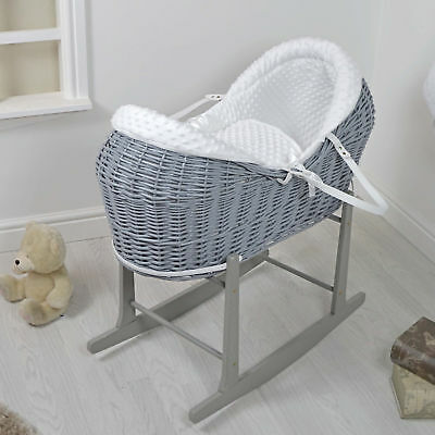 New 4Baby White Dimple Grey Wicker Moses Basket / Rollover Snooze Pod & Stand