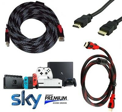 Cavo Hdmi Tv Sky Full Hd Video Metri 1.8-3-5-10-15-20M Metri Ps4 Xbox One Switch