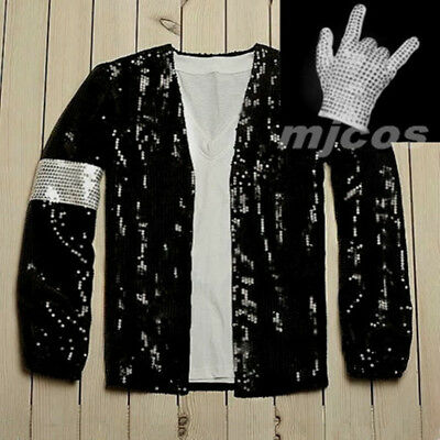 Michael Jackson Costume Billie Jeans Black Sequin Jacket With Gift White Gloves