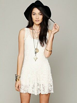 Free People Small Emily White Ivory Floral Lace Ruffle Romantic Boho Dress