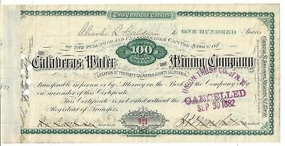 Calaveras Water Amd Mining Company.....1881 Common Stock Certificate