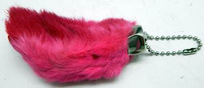 Pink Colored Lucky RABBIT'S FOOT (Oryctolagus Cuniculus) Keychain New