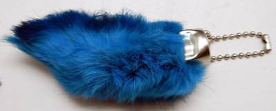 Blue Colored Lucky RABBITS FOOT (Oryctolagus Cuniculus) Key Chain New