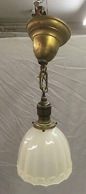 Vtg Brass Victorian Pendant Ceiling Light Fixture Glass Shade Old Hubble 79-18E