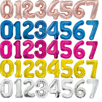"34"" Giant Foil Number Balloons Air Helium Glitz Large Birthday Party Wedding"