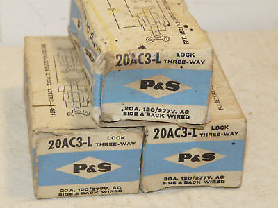 NOS Lot Of 3 PASS & SEYMOUR 3 Way 20 Amp 120/277V Locking Switch PS20AC3-L INV