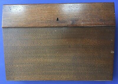 Antique Wood Slant Lap Desk With 2  Ink Wells And Marie Todd Pen