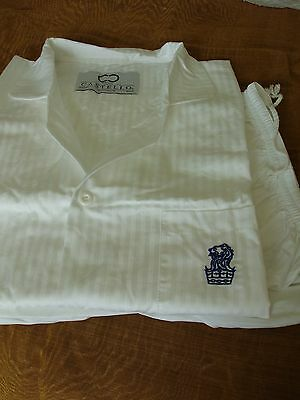 Castello White Stripe with Ritz Carlton BLUE LOGO Pajamas 100% Cotton