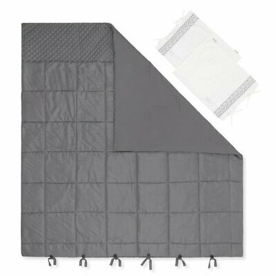 South Shore Lodge 3 Piece Full Quilted Comforter Set in Gray