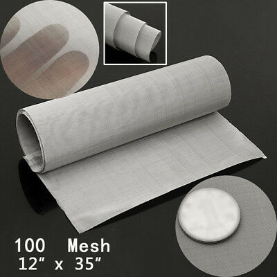"""Stainless Steel 12'' x 35"""" 100 Micron Mesh Woven Wire Cloth Screen Filter Sheet"""
