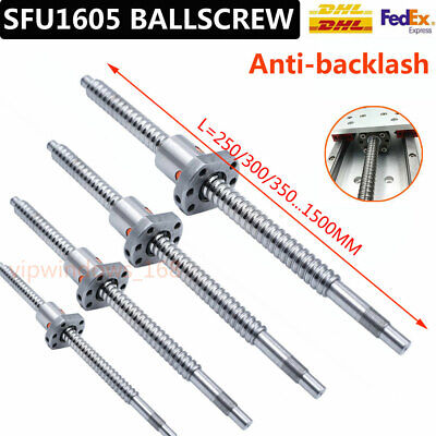 SFU1605 Rolled Ballscrew Ballnut Anti-Backlash 250-1500mm End Machining Coupler