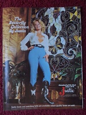 1978 Print Ad JUSTIN Western Cowboy Boots ~ Ladies Butterfly Collection COWGIRL